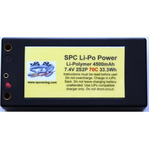 SPC LiPo Power, Lithium Polymer (LiPo) Battery Pack; 4500mAh, 70C, 2S, 7.4V Shorty Inboard Style, Hard-Case