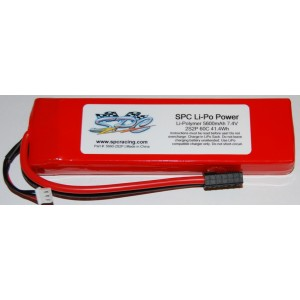 SPC LiPo Power, Lithium Polymer (LiPo) Battery Pack; 5600mAh, 60C, 2S, 7.4V Soft-Case