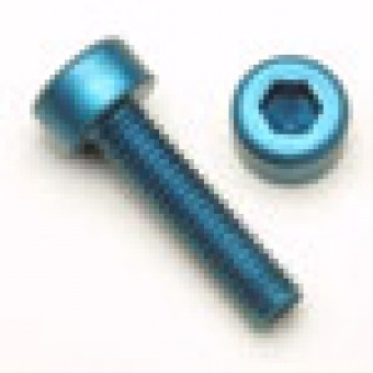Blue Socket Head Screw, Aluminum Anodized, M5 x .8 x 7mm, 7075 T6